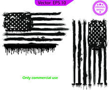 American Flag Dripping Paint Design. USA Flag. Distressed American Flag With Splash And Dripping   Elements, Design Illustration Of America, Patriot, Military, Veteran, Army  Flag,