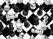 Seamless Wallpaper Pattern. Chess Figures On A Chessboard. Textile Composition, Hand Drawn Style Print. Vector Black And White Illustration.