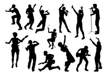 Pop Rock Band Or Hiphop Musicians Silhouettes