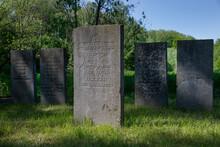 Abandoned Jewish Cemetry With Old Gravestones. Thombstones. Flevopark Amsterdam Netherlands. Ashkenazi Jews.