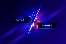 Versus VS Screen Banner For Battle Or Comparison Vector With Purple Sports Background