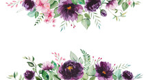 Watercolor Purple Flowers And Green Leaves Border Illustration