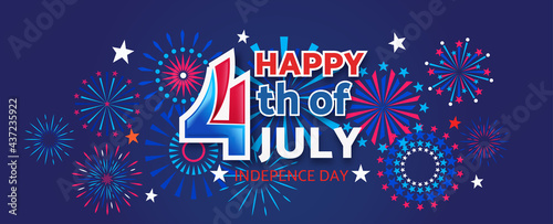 Stampa su Tela 4th July Happy Independence Day holiday banner template with festive fireworks -