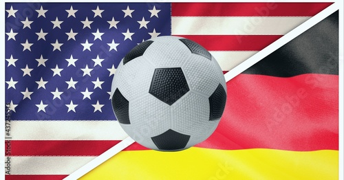 Composition of football over german and american flag background