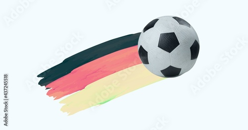 Composition of football with german flag isolated on white background