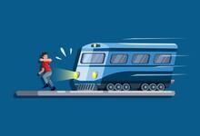 Man Running Avoiding Being Hit By A Train Scene Concept In Cartoon Illustration Vector