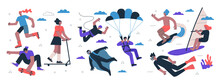 Young People Active Lifestyle Extreme Sport Set. Youth Rollerblading, Doing Trick On Skateboard And Scooter. Athletes Parachuting Base And Jumping. Surfing, Windsurfing And Diving People Eps