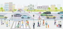 Stadtsilhouette Mit Straßenverkehr Und Fußgänger Auf Dem Zebrastreifen, Illustration