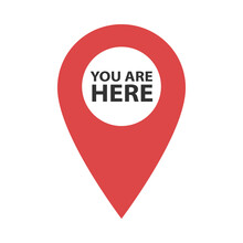 You Are Here Location Pointer Marker. Pinpoint Vector Icon Isolated On White Background. Symbol For Website, Gps Navigator, App, Business Card. Illustration In Flat Design. Geolocation Mark On The Map