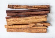 Cassia (chinese Cinnamon) Sticks Close Up On Gray
