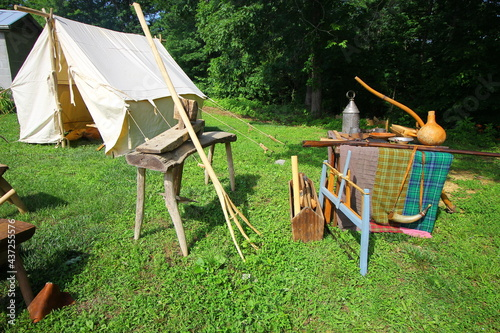 Canvastavla Outdoor Pioneer Display Featuring Tent and Tools