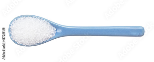 Fotografiet crystalline citric acid in ceramic spoon isolated