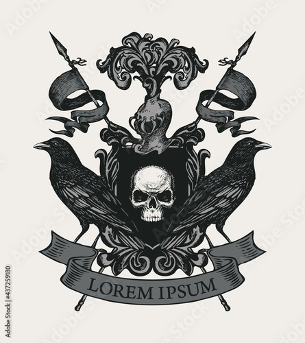 Fotografia Vector Coat of arms with black ravens, flags, ribbon, knightly helmet and shield with ominous human skull