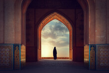 Silhouette Of A Persian Woman In National Dress Against The Background Of Traditional Iranian Architecture. Sunset. Iran. Kashan.