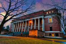 Boston, Massachusetts, Buildings And Walkways At The Harvard University Historic Building In Cambridge, Massachusetts, USA.