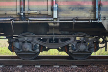Fragment Of A Train Wagon With A Close-up On The Wheels