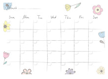 Printable A4 Paper Sheet With Monthly Planner Blank To Fill On Background With Hand Drawn Flowers. Minimalist Planner For Bullet Journal Page, Habit Tracker, Daily Planner Template, Blank For Notebook