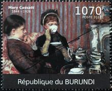 Women Drinking Tea Painted By Mary Cassatt On Stamp