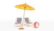Leinwandbild Motiv 3d Illustration - Sommerurlaub - Liegestühle - Sonnenschirm - Badeball