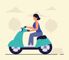 Woman Rides A Scooter