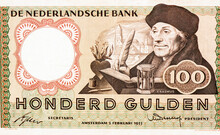 Desiderius Erasmus, Portrait From Netherlands100 Gulden1953 Banknotes. Catholic Priest, He Was An Important Figure In Classical Scholarship Who Wrote In A Pure Latin Style.