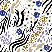 Collage Seamless Pattern Of Animal Skins - Tiger, Snake, Zebra, Geometric Flowers, Circles, Dots. A Set Of Different Shapes And Textures Blue, Gray, Black On A White Background. Trendy Modern Print