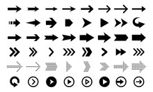Arrows Vector Icons Isolated On White Background. Big Vector Set Of Black Flat Arrow Signs And Direction Pointers In Different Styles.