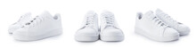 Stylish Sneakers Isolated On White Background. Set Of White Sport Shoes