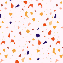 Terrazzo Texture Pattern. Ceramic, Marble Home Floor, Wall Decor.  Сlassic Granite Italian Mosaic. Сoncrete Design Material. Stone Fragment Venetian Style, Mineral Pebble, Glass. Vector Illustration.