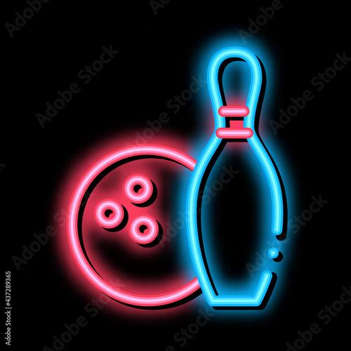 Fotografia, Obraz Game Ball Skittle neon light sign vector