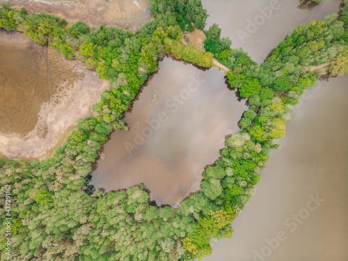 Aerial fresh spring landscape Fototapeta