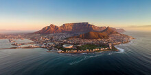 Aerial Panoramic View Of Cape Town Cityscape At Sunset, Western Cape Province, South Africa.