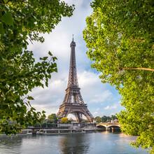 Eiffel Tower In Summer Along The Seine River, Paris, France