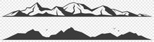 Mountains Alpine Skyline Silhouette Isolated On Transparent Background