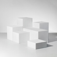 3D Rendering Illustration Of White Cubes One On Another