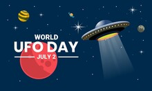 Vector Illustration, UFO Plane Resembling A Flying Saucer, Hovering In Space Between The Planets, As A Banner, Poster Or Template, World UFO Day.