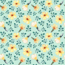 Watercolor Pattern Yellow Primrose And Leaves