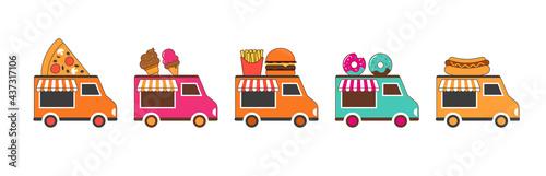 Fotografie, Tablou Food truck fair, Night market, Summer fest, food and music street fair, family f