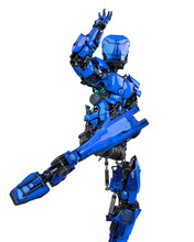 Mega Robotin Is Doing Some Kung Fu Fighting On White Background Front View