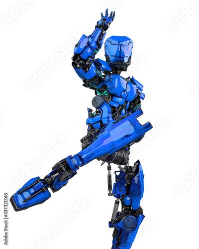 Fototapeta mega robotin is doing some kung fu fighting on white background front view