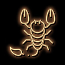 Scorpio Neon Light Sign Vector. Glowing Bright Icon Scorpio Sign. Transparent Symbol Illustration