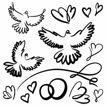 Doves And Hearts Wedding Freehand Drawing Set