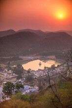 Sunset View Of Bundi Town From The Fort, Rajasthan, India