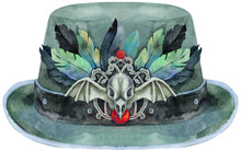 Watercolor Green Halloween Hat With With Raven Skull And Feathers