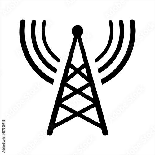 Canvastavla Transmitter antenna signal icon. Vector and glyph