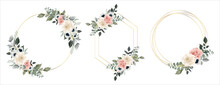 Flower Frame Watercolor Vector Set. Flora Wreath Watercolor. Flower With Gold Frame. Rose And Anemone Flower. Wedding Flower Frame.