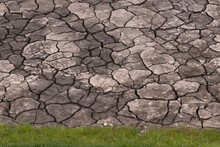 Brown Cracked Mud Bordered By Green Grass