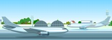 Passenger Planes At The Airport. Summer Landscape. Outside View. Runway. Towers And Hangars. Against The Background Of The Blue Sky. Illustration Vector