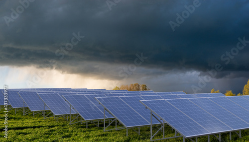 The coming storm over a farm Solar Panel #437333977
