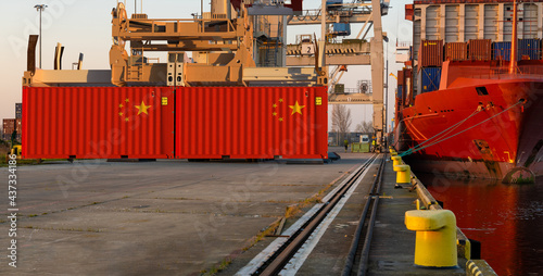 Chinese container with the flag of the People's Republic of China in the port. The concept of Chinese import and export.3D render #437334186